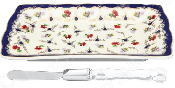 Тарелка под масло Elan Gallery с ножом «Цветочек»