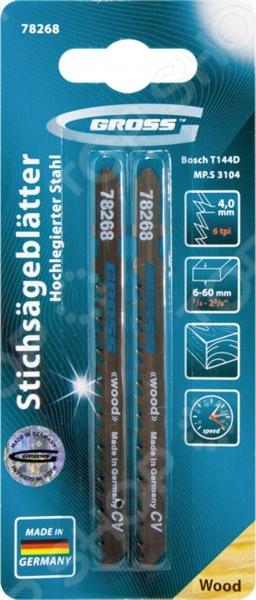 Пилки для электролобзика GROSS 78268 пилки для лобзика по металлу для прямых пропилов bosch t118a 1 3 мм 5 шт