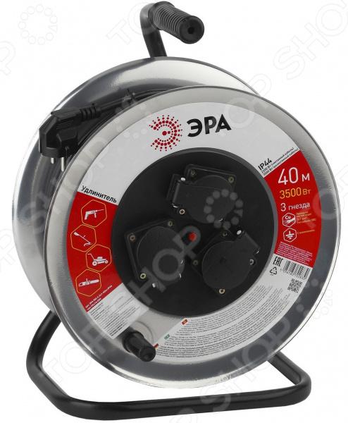 Удлинитель силовой на катушке с заземлением Эра RM-3 удлинитель эра силовой с заземлением 4 розетки rm 4 3x1 40m 40 м