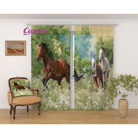 Купить Фототюль Сирень «Лошади»