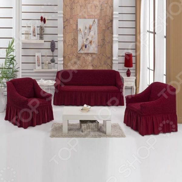Натяжные чехлы на трехместный диван, двуспальную кровать и чехлы на 2 кресла Karbeltex с оборкой. Цвет: бордовый чехлы и сумки для планшетов