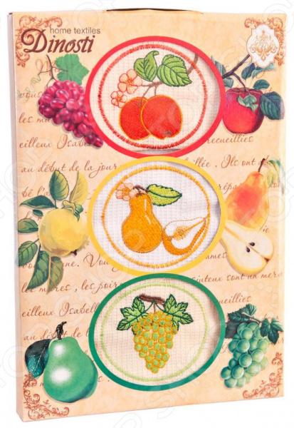 Комплект из 3-х кухонных полотенец Dinosti «Фрукты» комплект из 3 х кухонных полотенец dinosti розовые хрюшки