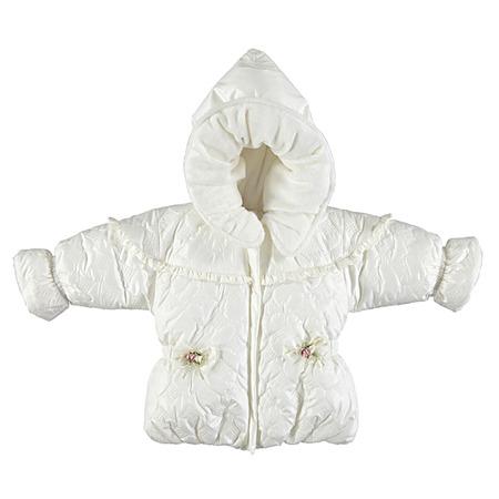 Купить Куртка утепленная с капюшоном Bebetto «Сердечки». Цвет: кремовый