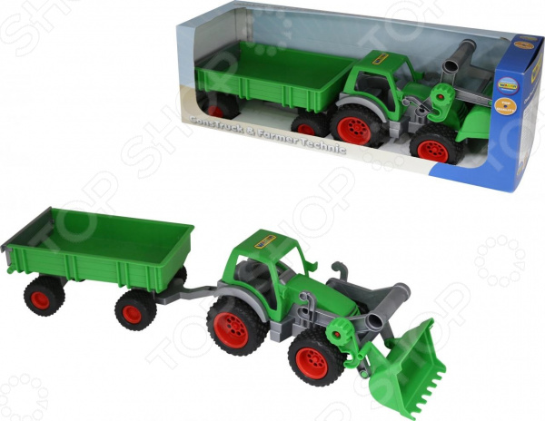 Машинка игрушечная Wader «Фермер-техник. Трактор-погрузчик с прицепом» педальная машинка dolu педальный трактор экскаватор с прицепом