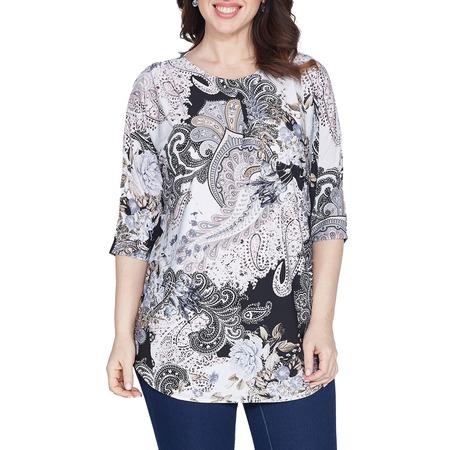 Купить Блуза Wisell «Мягкий орнамент». Цвет: серый