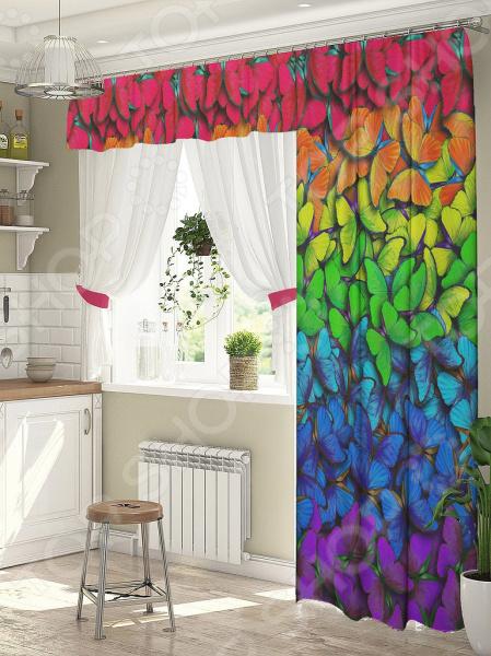 фото Комплект штор для окна с балконом ТамиТекс «Яркие бабочки», Шторы для окна с балконом