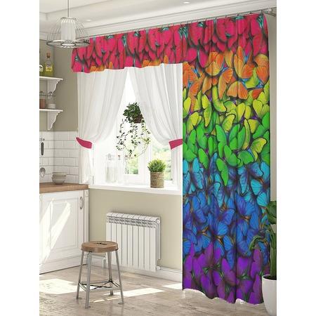 Купить Комплект штор для окна с балконом ТамиТекс «Яркие бабочки»