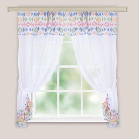 Комплект легких штор WITERRA «Глория Этно». Цвет: морской волны, красный