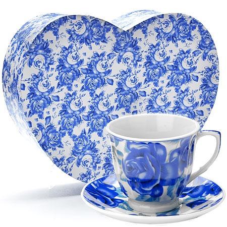 Купить Чайный набор «Сердце красавицы». Рисунок: синие цветы