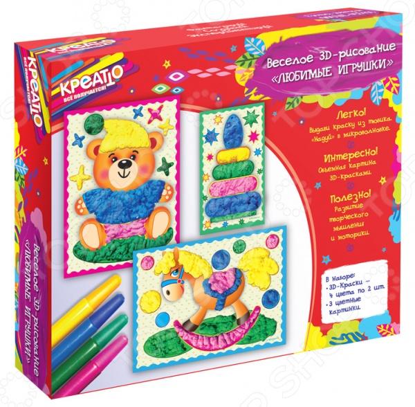 Набор для рисования Креатто Любимые игрушки великолепный подарок для творческих и любознательных деток, которые любят что-то мастерить собственными руками. Теперь у них появилась возможность создавать настоящие 3D-картинки. Для этого нужно выбрать рисунок и тщательно рассмотреть его. Каждый фрагмент раскрашивается отдельно. Чтобы рисунок получился как можно объемней, краску рекомендуется наносить толстыми слоями. Но на этом все приготовления не заканчиваются! Секрет заключает в том, чтобы положить картинку в микроволновую печь всего на минуту. Тогда краски надуются и объемная картинка будет готова. Такое увлекательное занятие способствует активному развитию у ребенка творческого и образного мышления, мелкой моторики рук и цветового восприятия! Набор рекомендуется хранить при температуре выше 0 С.