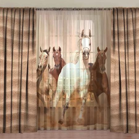 Купить Комплект фотоштор с тюлем ТамиТекс «Лошади степей»
