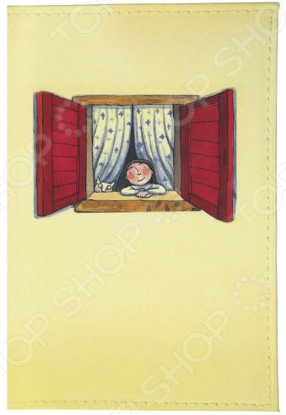 Обложка для паспорта кожаная Mitya Veselkov «Красное окошко»