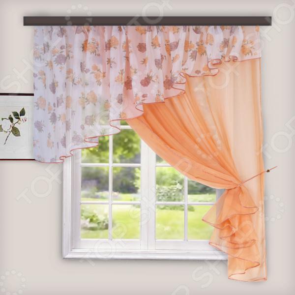 Комплект легких штор правосторонний WITERRA «Лира». Цвет: персиковый. В ассортименте