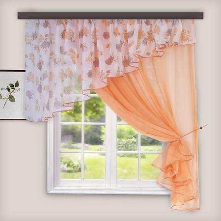 Купить Комплект легких штор правосторонний WITERRA «Лира». Цвет: персиковый. В ассортименте