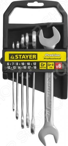 Набор ключей рожковых гаечных Stayer Profi 27037-H6 набор гаечных рожковых ключей 6 24мм 8шт stayer profi 27037 h8