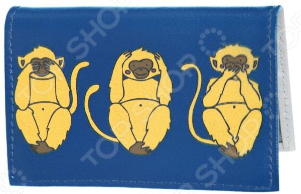 Обложка для автодокументов кожаная Mitya Veselkov «Три мудрых обезьяны на синем»