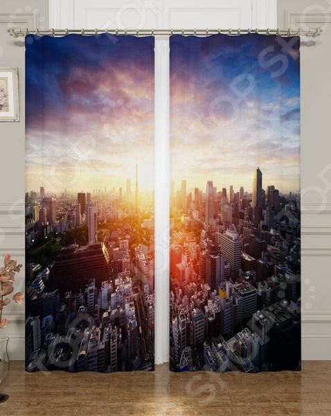 Фотошторы блэкаут Сирень «Солнце сквозь город»