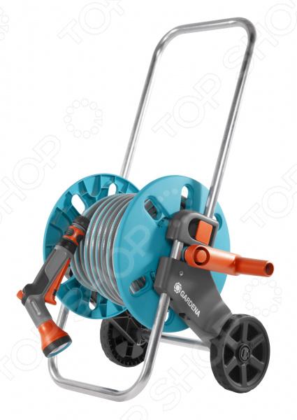 Катушка для шланга на колесах Gardena AquaRoll S с комплектом для полива тележка для шланга gardena aquaroll s шланг classic 20м 1 2 18502 20 000 00