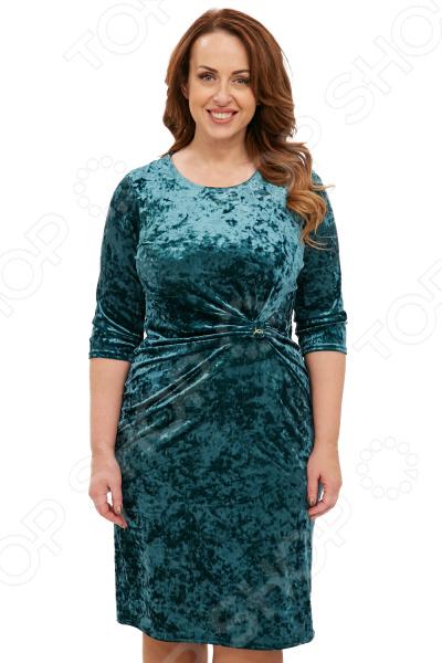 Платье ТРЕНД «Бархатный ангел». Цвет: изумрудный