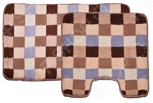 Комплект ковриков для ванной и туалета Dasch «Клетка» коврик круглый для ванной dasch орнелла
