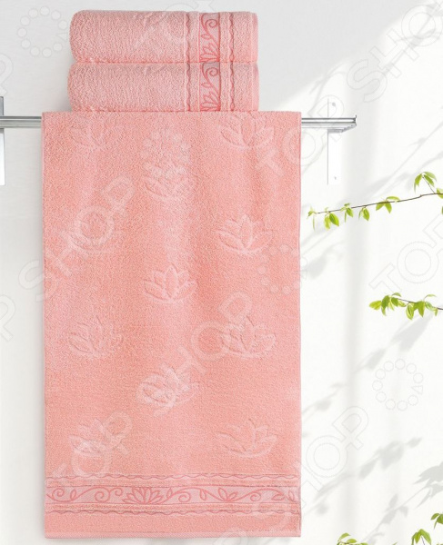 Полотенце махровое Aquarelle «Лотос». Цвет: персиковый