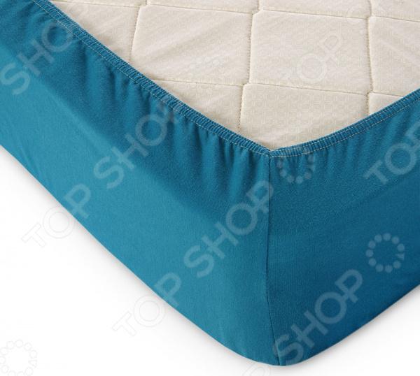 Простыня на резинке ТексДизайн трикотажная. Цвет: морской волны