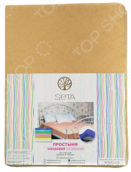 Простыня на резинке Seta махровая. Цвет: бежевый