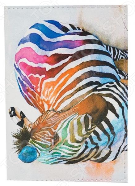 Обложка для паспорта кожаная Mitya Veselkov «Радужная зебра» обложка для паспорта mitya veselkov котик под деревом