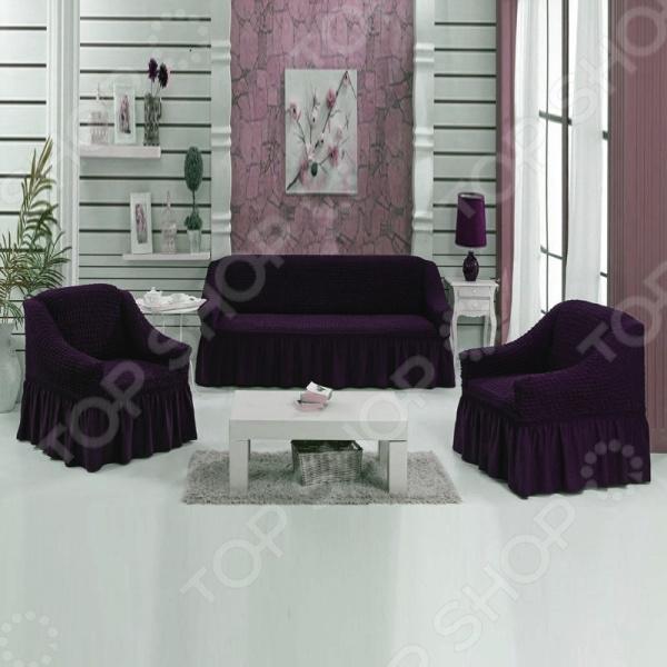 Натяжной чехол на трехместный диван и чехлы на два кресла Karbeltex 1731171