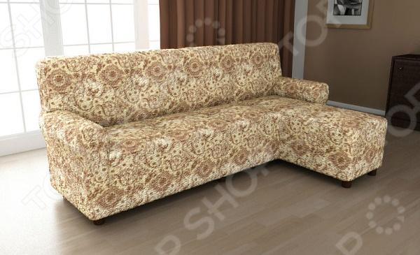 Натяжной чехол на угловой диван с выступом справа Еврочехол «Виста. Флоренция» 2