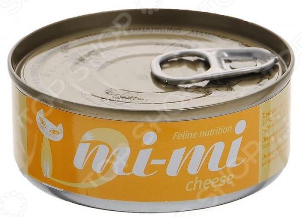 Корм консервированный для кошек Mi-Mi с сыром консервы mi mi feline nutrition с креветками кусочки в желе для кошек 80г