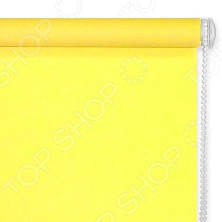 Рулонная штора Эскар однотонная. Цвет: желтый