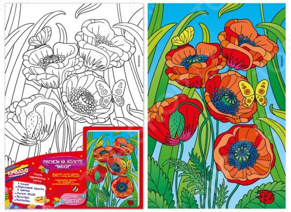 Набор для росписи по холсту Креатто «Маки» 33250 набор для росписи по холсту креатто кошечка от 3 лет 30173