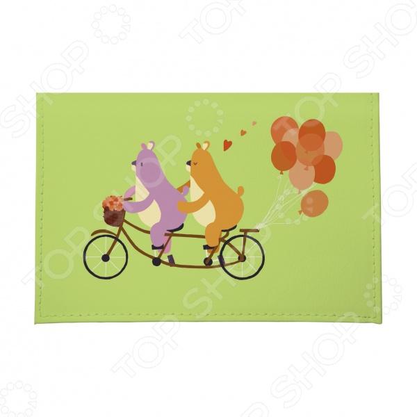Обложка для автодокументов кожаная Mitya Veselkov «Мишки на велике с шариками» mitya veselkov обложка для автодокументов северные мишки