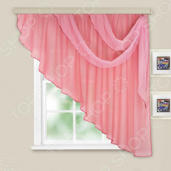 Комплект легких штор правосторонний WITERRA «Азалия». Цвет: брусничный
