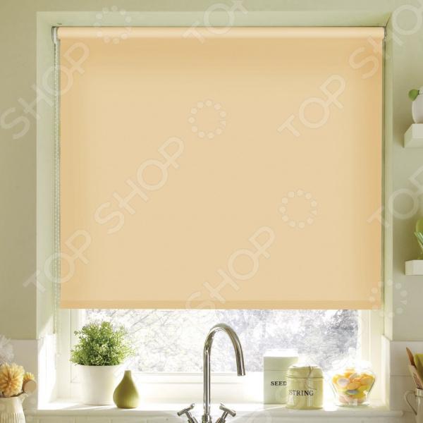 Рулонная штора Эскар однотонная. Цвет: светло-абрикосовый шторы рулонные ролло идея рулонная штора ролло lux samba цветы зеленый оранжевый желтый 160 см