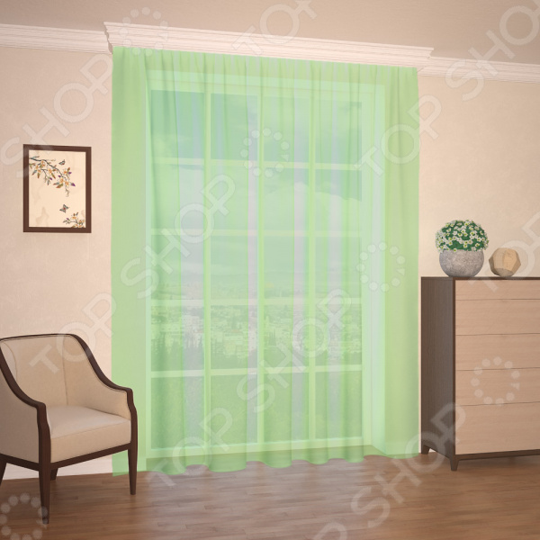 Штора легкая Синель «Мелодия». Цвет: бледно-зеленый штора легкая правосторонняя синель акцент 122