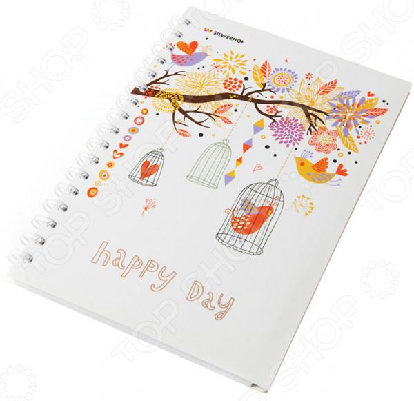 Тетрадь в клетку на гребне лакированная Silwerhof «Счастливый день»