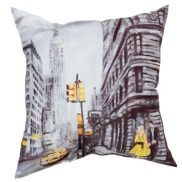 фото Подушка декоративная Сирень «Деловой Нью-Йорк»