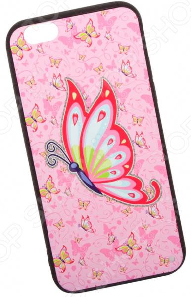Чехол с защитным стеклом для iPhone 6/6S «Бабочка на розовом»