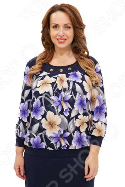 Блуза Лауме-Лайн «Прекрасная орхидея». Цвет: темно-синий блуза лауме лайн сад чудес цвет темно синий