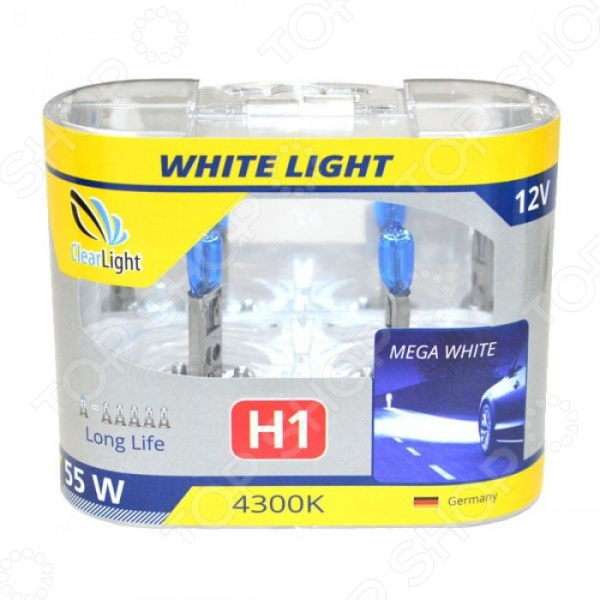 Комплект автоламп галогенных ClearLight WhiteLight H1 12V-55W