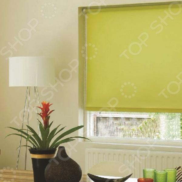 Рулонная штора Эскар однотонная. Цвет: салатовый