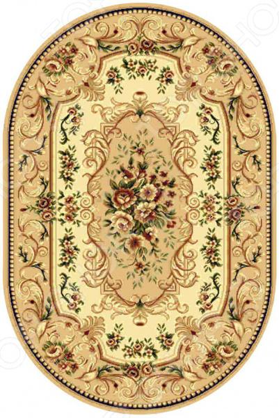 Ковер овальный Kamalak tekstil «Райский сад». Цвет: бежевый овальный купить ковры ковер super vision 5412 bone овал 3на 5 метров