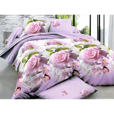 Комплект постельного белья «Дикая роза». Евро. Цвет: лиловый