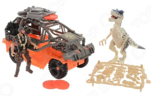 Набор игровой Chapmei «Динозавр Тиранозавр и охотник на джипе» игровые наборы tomy игровой набор приключения трактора джонни и лошади на ферме