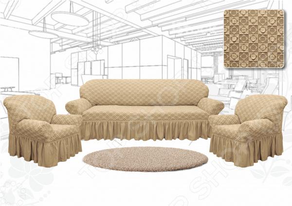Натяжной чехол на трехместный диван и чехлы на 2 кресла Karbeltex «Престиж. Ромбы» Euro