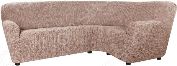 натяжной чехол на угловой диван с выступом слева еврочехол сиена сатурно Натяжной чехол на классический угловой диван Еврочехол «Сиена Венера»