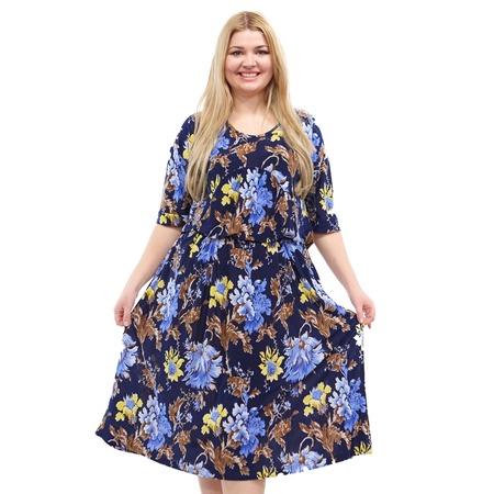 Купить Платье Лауме-стиль «Цветочное счастье». Цвет: синий