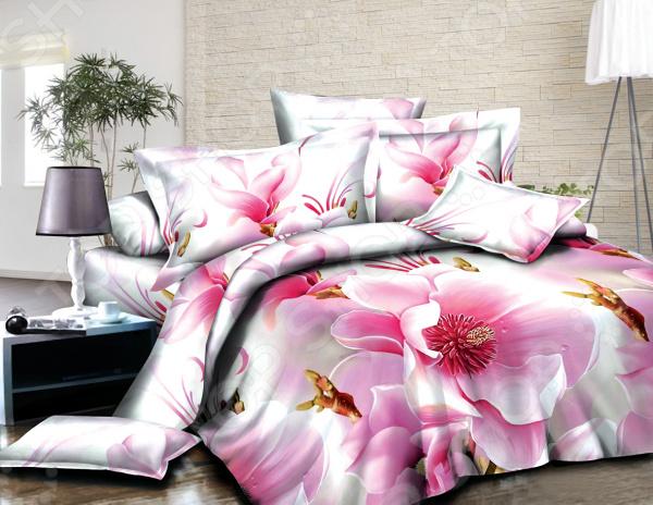 Комплект постельного белья «Нежная орхидея». Евро. Цвет: белый